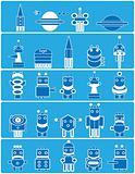 many blue robots