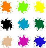 set of colored blots