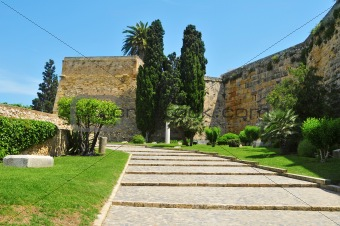 Archaeological Walk, with monumental roman walls, in Tarragona, Spain