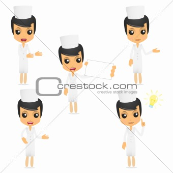 set of funny cartoon nurse