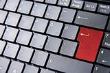Keyboard with a red enter key