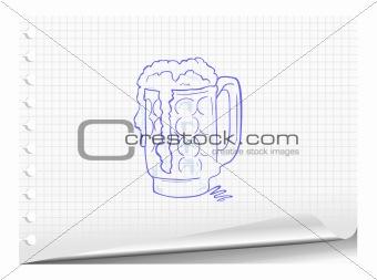 Sketchy illustration of beer mug
