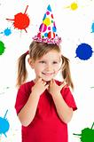Little  girl in birthday cap