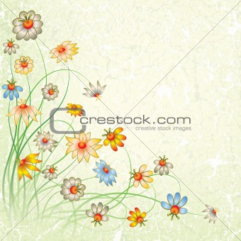 abstract grunge color floral background