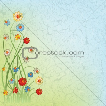abstract vintage blue background with flowers