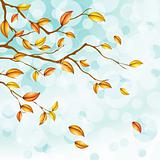 Light blue autumn background with transparencies