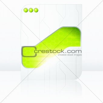 Green and white futuristic sign. Includes transparencies