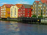 Trondheim old house over a river