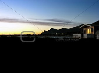 Lofoten camp in summer sunset