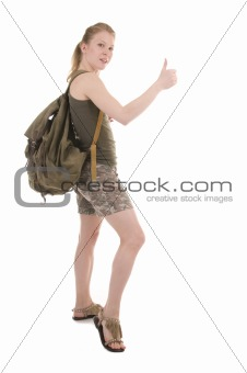 Backpacker A Young Woman