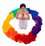 Full color of yoga chakra fabric rainbow