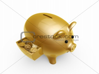 pig bank with coins in drawer