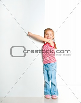 girl beside a white blank card