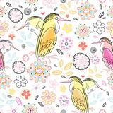 vivid pattern of flowers and love herons
