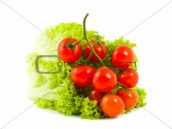 Tomatoes cherry and green salad