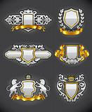 heraldic vintage emblems set silver and gold