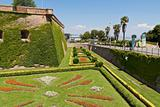 Gardens of the Montjuic Castle in Barcelona, Spain