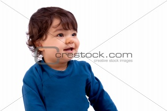 Beautiful and happy baby on white background, studio shot
