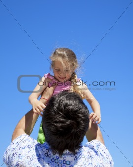 Father and daughter at outdoor.