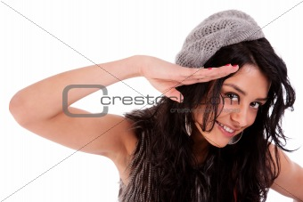 beautiful woman saluting isolated on white background. Studio shot