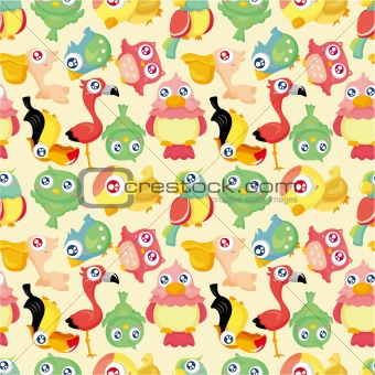 cartoon bird seamless pattern
