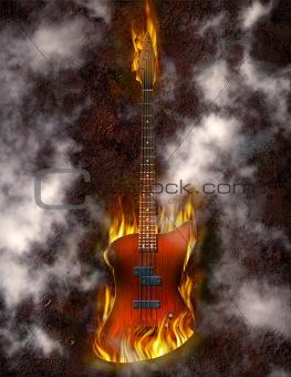 Flaming Bass Guitar