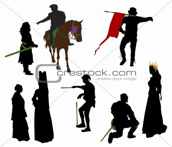 Silhouettes of medieval people