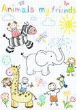 Vector sketches happy children&#39;s and animals