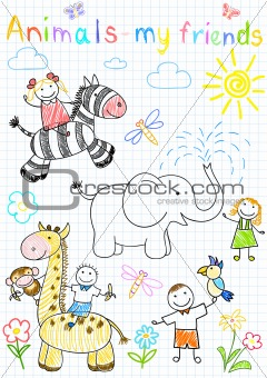 Vector sketches happy children's and animals