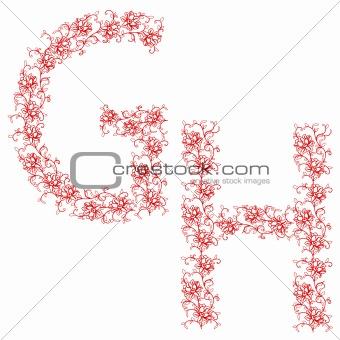 Hand drawing ornamental alphabet. Letter GH