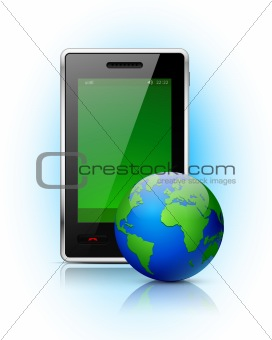 Mobile phone with globe on blue background.