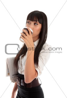 Professional woman drinking coffee