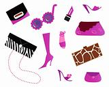 Women icons and accessories - bags and shoes ( pink )