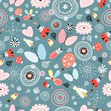 floral pattern with insects