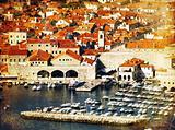 Dubrovnik town vintage postcard