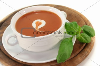 Tomato soup with a dollop of cream