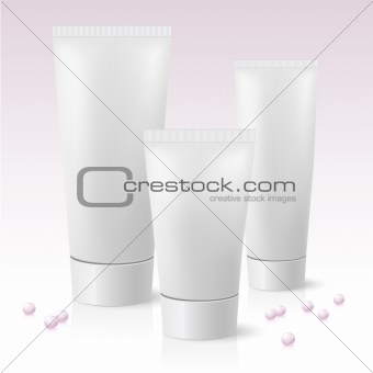 Three cosmetic tube
