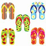 Five pairs of colorful flip flops