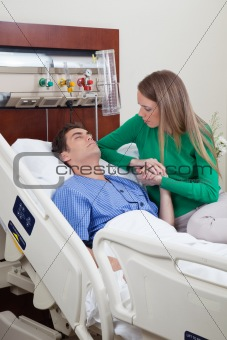 Man on a hospital bed