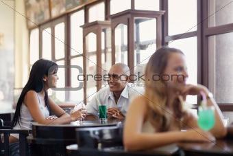 man and woman dating at pub