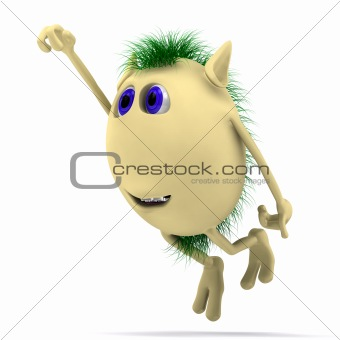 3D character puppet flying on white background