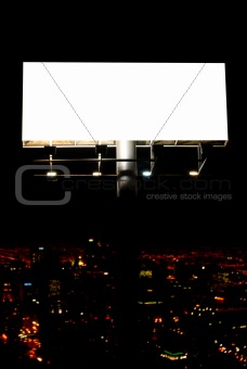 blank billboard and city lights