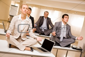 Meditating business partners