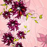 Wedding card or invitation with abstract floral background.