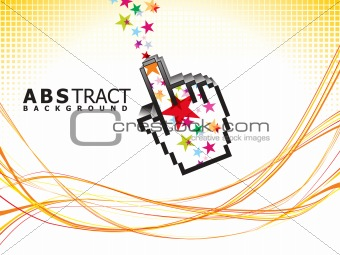abstract colorful line wave background with hand