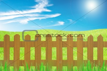 old brown fence and grass in farm