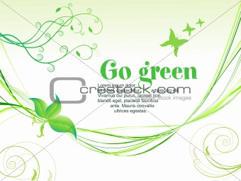 abstract green eco background with wave