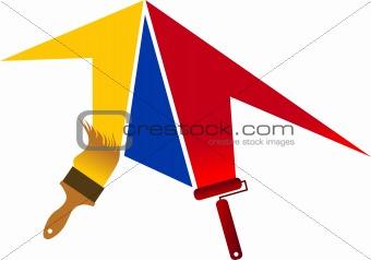 paint roller & paintbrush logo