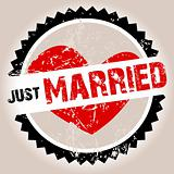 Grunge stamp with heart and Just Married