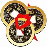 vector three ancient Chinese coins
